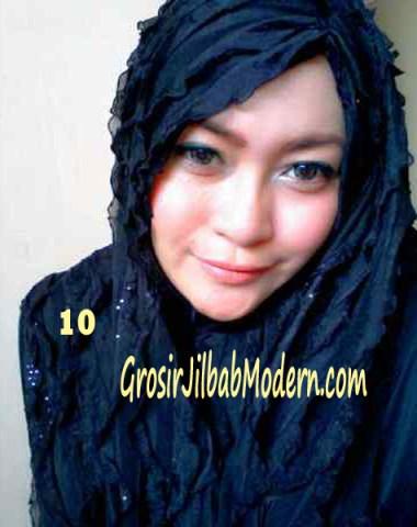 Jilbab Syrpash Ruffle Sparkling No 10 Hitam