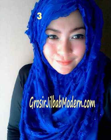Jilbab Syrpash Ruffle Sparkling No 3 Biru