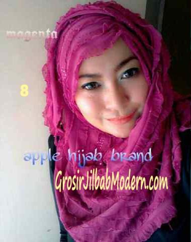 Jilbab Syrpash Ruffle Sparkling No 8 Magenta