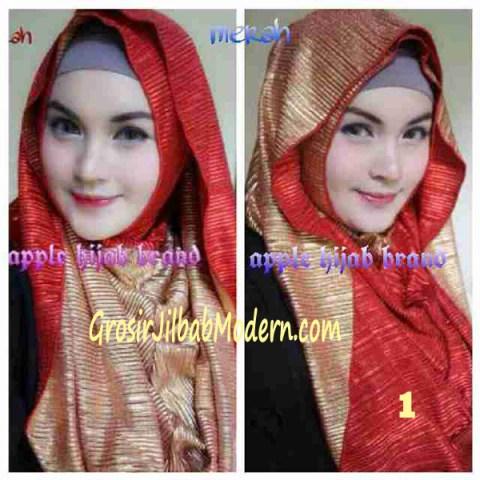 Jilbab 2 in 1 Goldee Plizt Hoodie by Apple Hijab Brand No 1 Merah