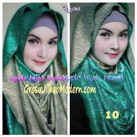 Jilbab 2 in 1 Goldee Plizt Hoodie by Apple Hijab Brand No 10 Hijau