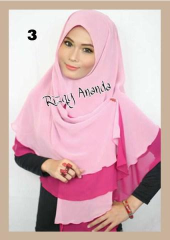 Jilbab Instant  Khimar Alena Polos No 3 Pink