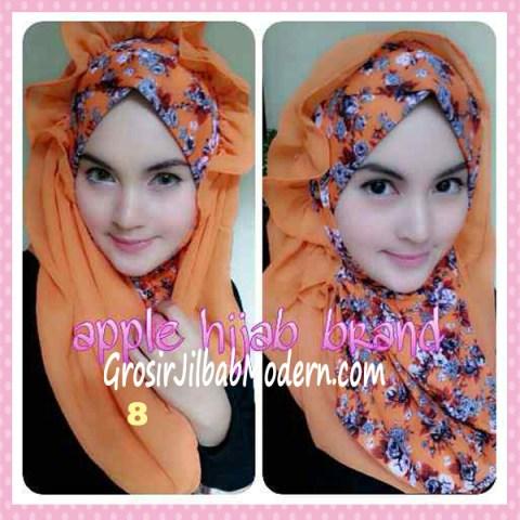 Jilbab Syria Hoodie Flowerist No 8 Orange
