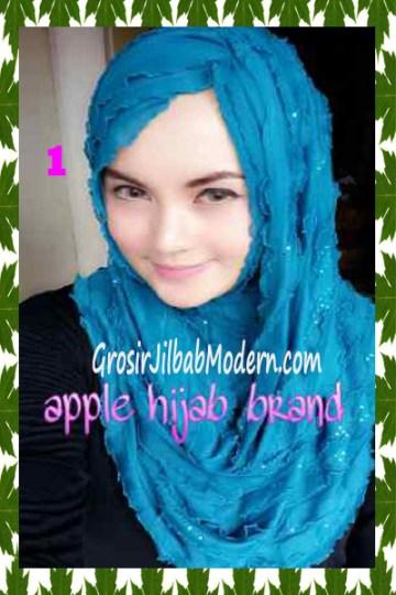 Jilbab Syrpash Aleeza Ruffle Sparkling No 1 Biru Toska