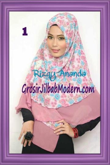 Jilbab Khimar Miriam Motif Bunga  Cantik No 1