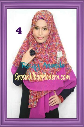 Jilbab Khimar Miriam Motif Bunga  Cantik No 4