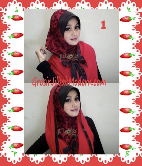 Jilbab Syria Hoodie Savana Seri 2 by Flow Idea No 1 Merah