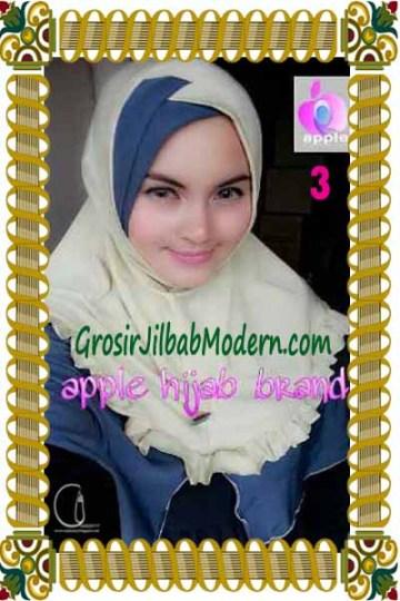 Jilbab Syria Khayra Seri 2 by Apple Hijab Brand No 3 Krem Kehijauan - Abu
