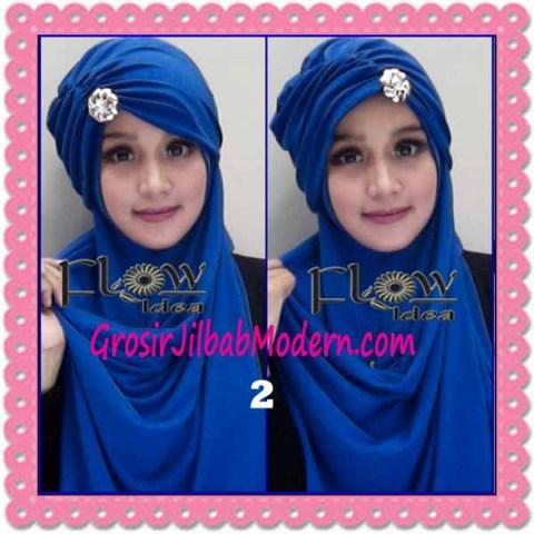 Jilbab Syria Topi Turban Almonda Trendy by FLOW Idea No 2 Biru