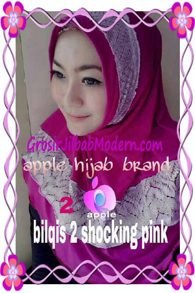 Jilbab Syria Bilqis Seri 2 Modis by Apple Hijab Brand No 2 Shocking Pink