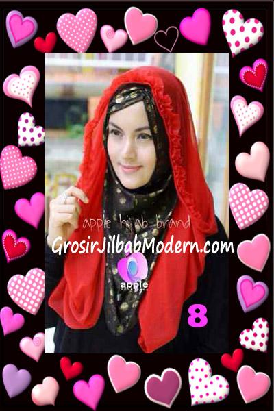 Jilbab Syria Hoodie Aesah Jolie Layer Praktis by Apple Hijab Brand No 8 Merah