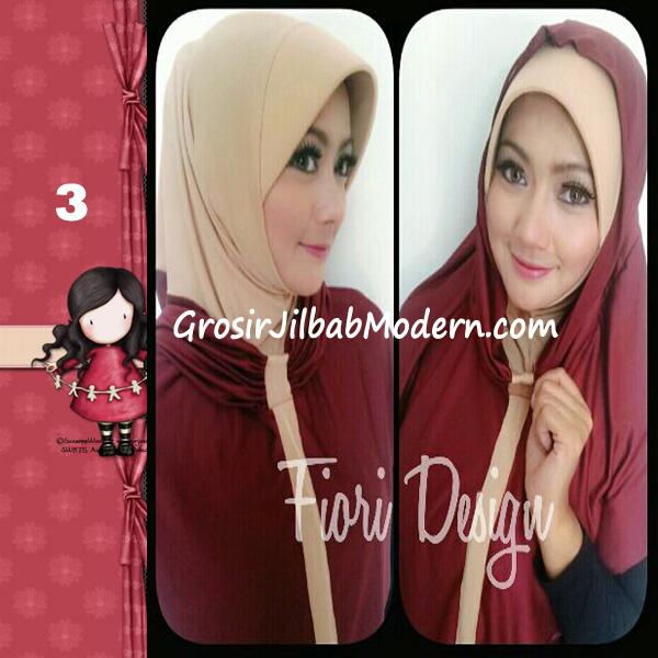 Jilbab Instant Farra Syirhood Modis by Fiori Design No 3 Maroon-Cream