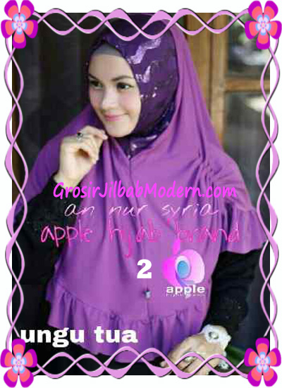 Jilbab Pesta Instant Modern An Nur Syira Sequin by Apple Hijab Brand No 2 Ungu Tua