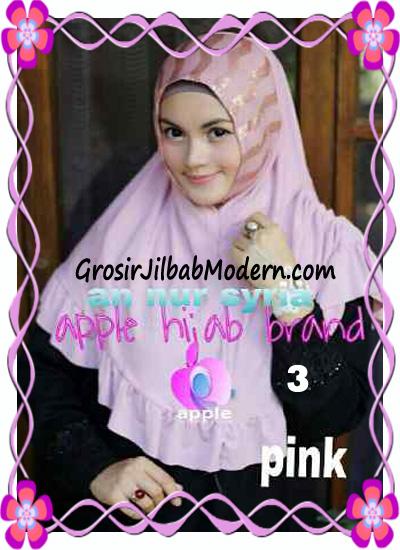 Jilbab Pesta Instant Modern An Nur Syira Sequin by Apple Hijab Brand No 3 Pink