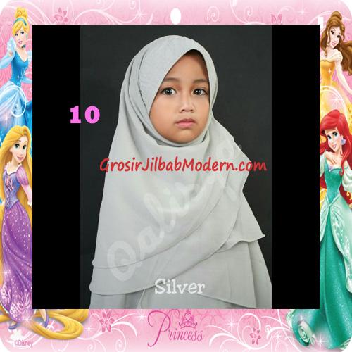 Jilbab Cerutti Cantik Mijwad For Kids Original by Qalisya No 10 Silver