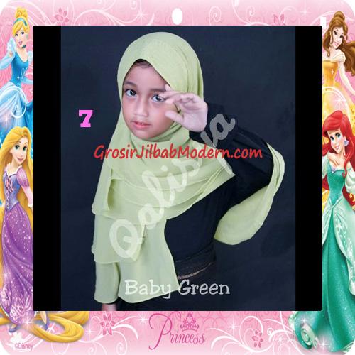 Jilbab Cerutti Cantik Mijwad For Kids Original by Qalisya No 7 Baby Green