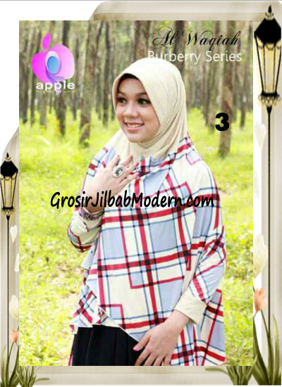 Jilbab Lengan Model Cardigan Luxury Al waqiah Syar'i Blueberry By Apple Hijab Brand No 3 Cream