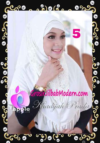 Jilbab Syria Syar'i Khadijah Prada Premium by Apple Hijab Brand No 5 Putih