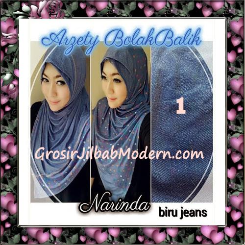 Jilbab Instant Modern Arzety Polka Bolak Balik Salur Jeans Original by Narinda No 1