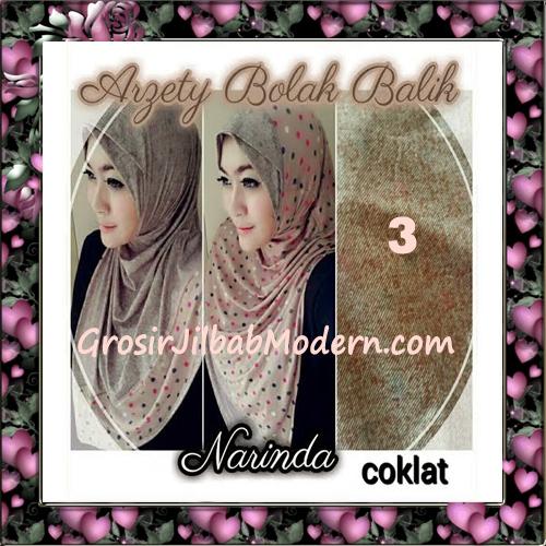 Jilbab Instant Modern Arzety Polka Bolak Balik Salur Jeans Original by Narinda No 3