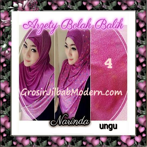 Jilbab Instant Modern Arzety Polka Bolak Balik Salur Jeans Original by Narinda No 4