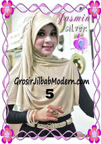 Jilbab Instant Modis Praktis Yasmin Premium by Apple Hijab Brand No 5 Silver