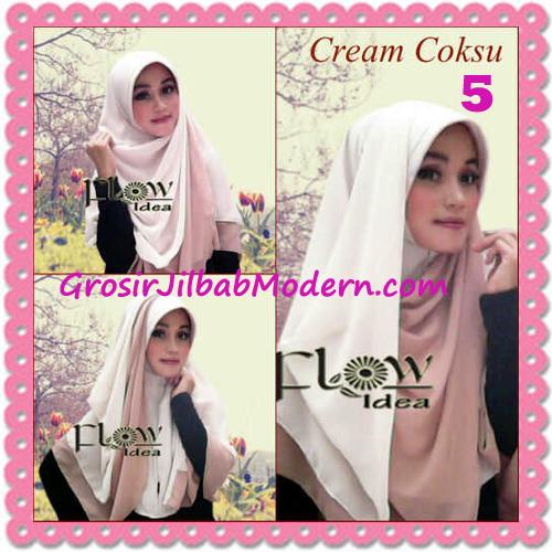 Jilbab Syria Instant Bergo Pet Aliya Model Baru by Flow Idea No 5-Cream Coksu