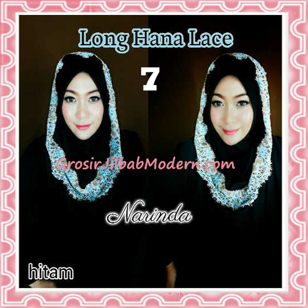 Jilbab Instant Long Hana Lace CHSI Original by Narinda No 7 Hitam
