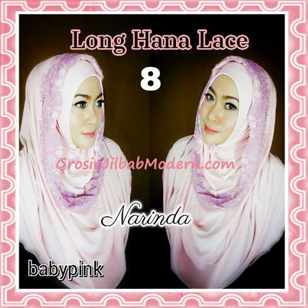 Jilbab Instant Long Hana Lace CHSI Original by Narinda No 8 Baby Pink