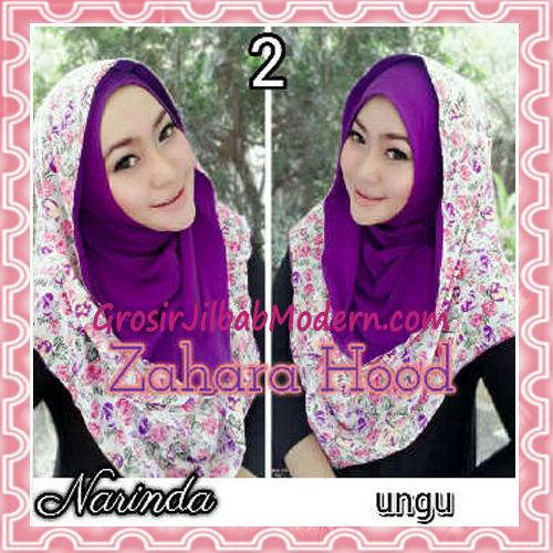 Jilbab Instant Hoodie Zahara Bunga Cantik By Narinda No 2 Ungu