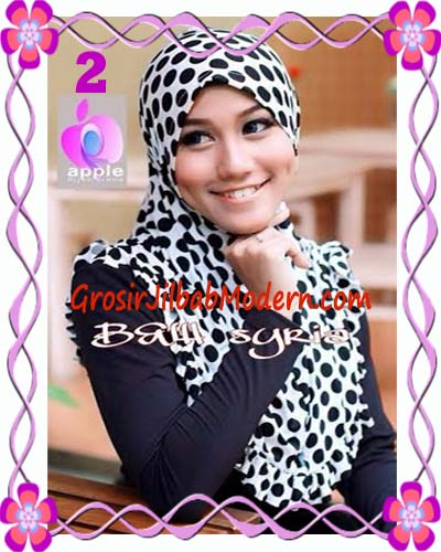 Jilbab Syria Exclusive Black and White Cantik Original By Apple Hijab Brand No 2