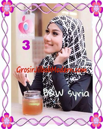 Jilbab Syria Exclusive Black and White Cantik Original By Apple Hijab Brand No 3