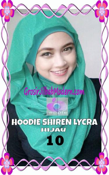 Jilbab Syria Hoodie Instant Shiren Lycra by Apple Hijab Brand No 10 Hijau