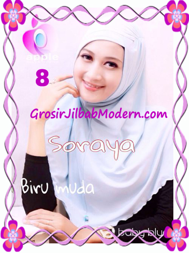 Jilbab Syria Kerut Soraya Original by Apple Hijab Brand No 8 Biru Tosca Muda