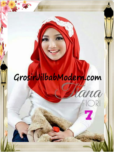 Jilbab Instant Unik Tiana Original by Fiori Design No 7 Merah
