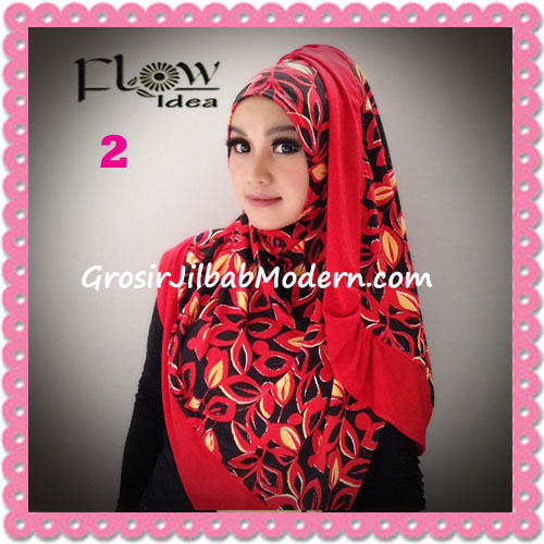 Jilbab Syria Layer Corak Daun Qory by Flow Idea No 2 Merah