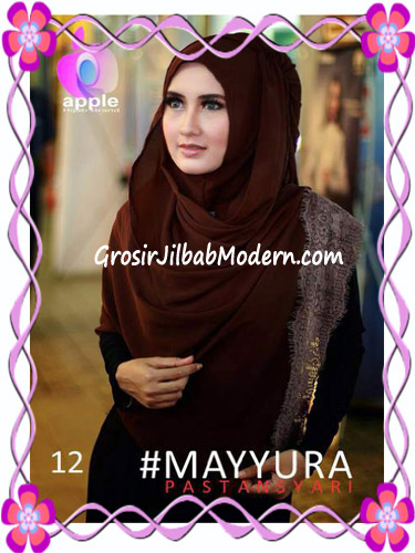 Pashmina Instan Modern Stylish Mayyura By Apple Hijab Brand No 12 Coklat Kopi