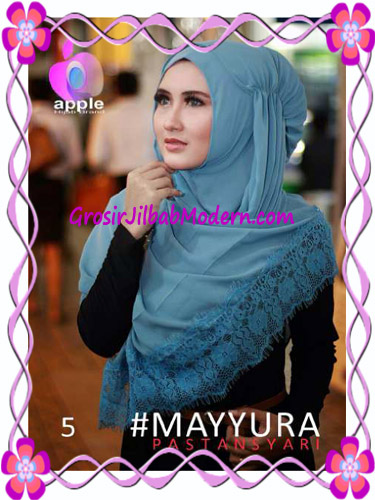 Pashmina Instan Modern Stylish Mayyura By Apple Hijab Brand No 5 Blue Tosca