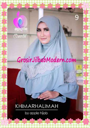 Hijab Syar'i Khimar Halimah Cantik Original By Apple Hijab Brand No 9 Grey