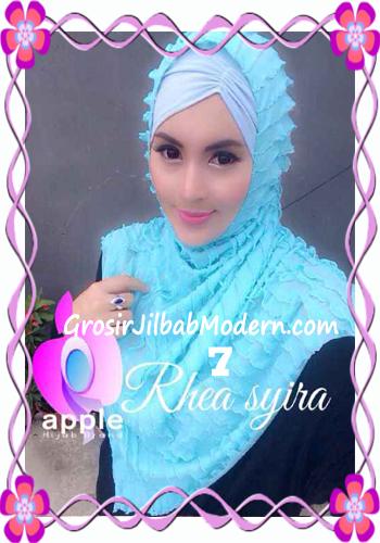 Jilbab Instant Modis Rhea Syria Ruffle Original by Apple Hijab Brand No 7 Biru Muda