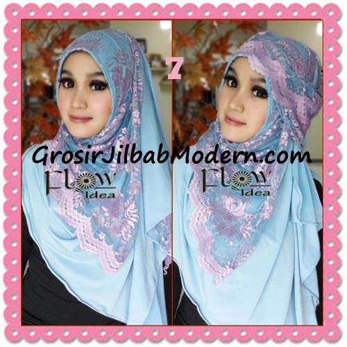 Jilbab Instant Cantik Syria Pashmina Terbaru LACENZA by Flow Idea No 7 Biru Langit