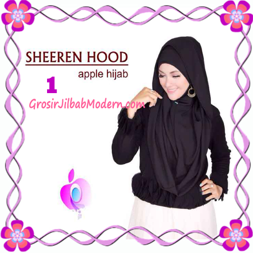 Jilbab Instant Modis Sheeren Hoodie Original by Apple Hijab Brand No 1 Hitam