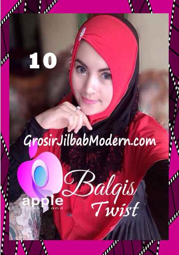 Jilbab Syria Cantik dan Mewah Balkis Twist Original by Apple Hijab Brand No 10 Merah - Hitam
