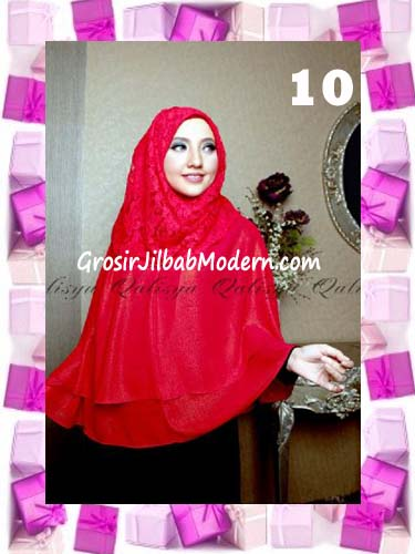 Khimar Pesta Instant Cantik Ghaida Syria Pashmina by Qalisya No 10 Merah