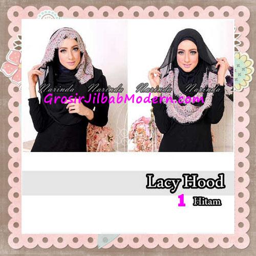 Jilbab Hoodie Instant Cantik Lacy Hood Original By Narinda No 1 Hitam