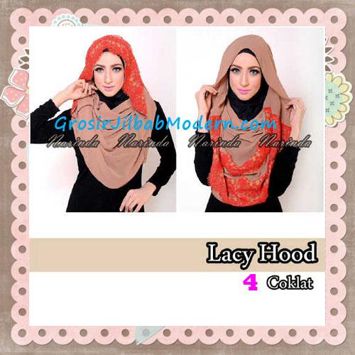 Jilbab Hoodie Instant Cantik Lacy Hood Original By Narinda No 4 Coklat