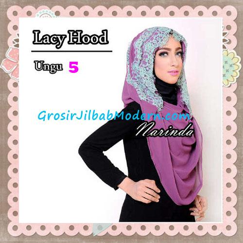 Jilbab Hoodie Instant Cantik Lacy Hood Original By Narinda No 5 Ungu