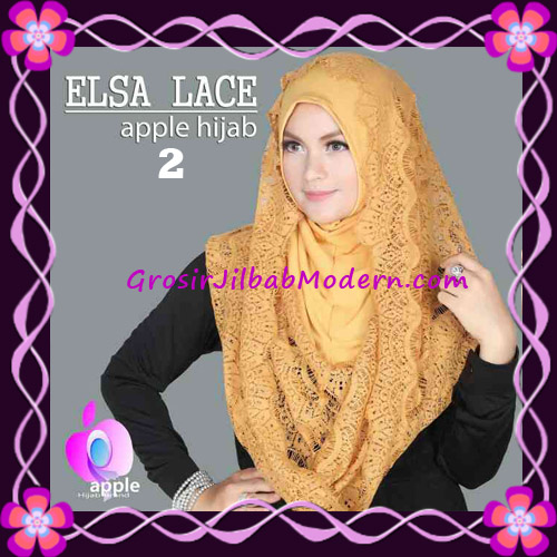 Jilbab Instant Terbaru Elsa Lace Hoodie Premium by Apple Hijab Brand No 2 Gold