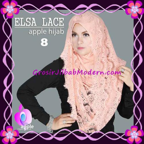 Jilbab Instant Terbaru Elsa Lace Hoodie Premium by Apple Hijab Brand No 8 Peach