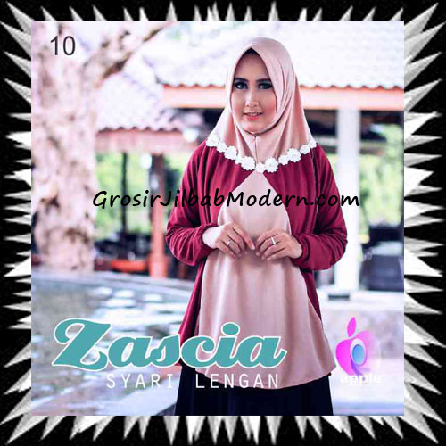 Jilbab Lengan Bergo Pet Syar'i Zascia Original by Apple Hijab Brand No 10 Khaki